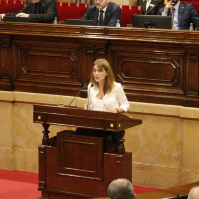 Pla general de la presidenta de CatECP, Jéssica Albiach, al ple del Parlament del 17 d'octubre de 2019