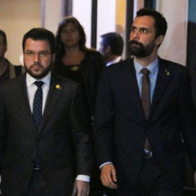 El vicepresident del Govern, Pere Aragonès, i el president del Parlament, Roger Torrent