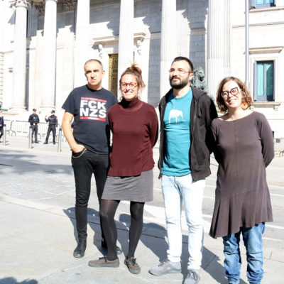 D'esquerra a dreta els candidats de la CUP Francesc Gabarrell, Mireia Vehí, Albert Botran i Eulàlia Reguant