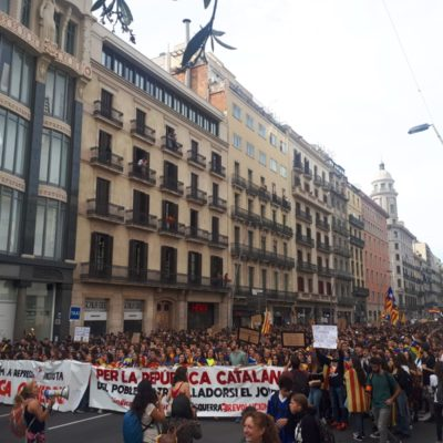 Estudiants es manifesten a Barcelona per la vaga del 18-O