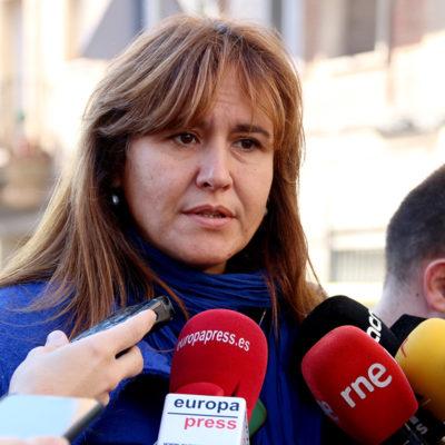 Laura Borràs, en una atenció als mitjans