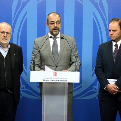 El conseller d'Interior, Miquel Buch, durant una roda de premsa a la seu del departament el 12 de novembre del 2019