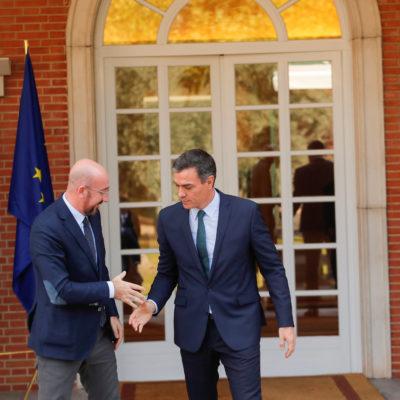 El president-electe del Consell Europeu, Charles Michel, i el president en funcions d'Espanya, Pedro Sánchez